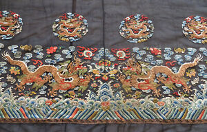 Antique Chinese Qing Dynasty Robe Border Dragon Embroidery