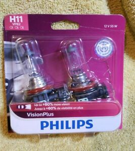 Headlight Bulb Visionplus Twin Blister Pack Philips H11vpb2
