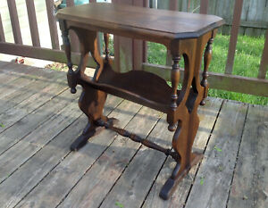 Antique Eastlake Victorian Wood Carved Lamp End Table Book Shelf Night Stand