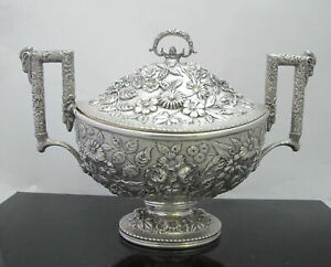 Antique Finely Detailed S Kirk Son Sterling Silver Repousse Tureen W Lid 15