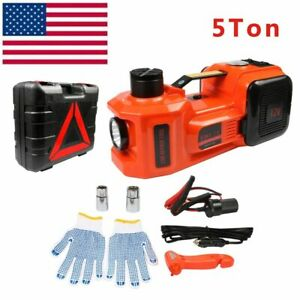 12v Dc 5t 11023lb Electric Hydraulic Floor Jack 4 In 1 Set With Safe Hammer Usa