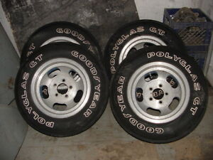 Goodyear Polyglass Gt Tires And Ansen Slotted Almn Wheels 14 X7 Tires Near Mint