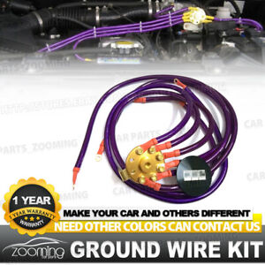 Purple Universal 6 Point Round Ground Grounding Wire Cable System Kit