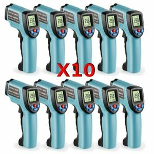 10pcs Gm550 Temp Meter Temperature Gun Digital Laser Ir Infrared Thermometer Bt