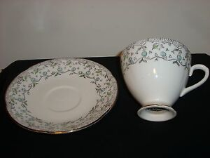 Bone China Made In England Tea Cup And Saucer White With Leaves And Vines