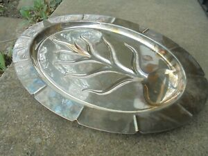 Silverplate Footed 16 Platter Tray Wm Rogers Hampton 5610 Very Good