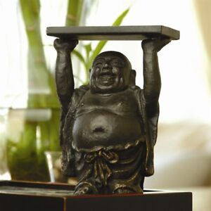 Cast Iron Buddha Business Card Holder Jewelry candle Holder 6 h