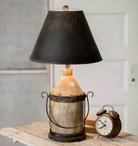 Vintage Country Brown Black Metal Distressed Hoover Table Lamp W Shade 27 5 H