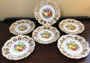 6 Hand Painted Fruit Reticulated Porcelain 8 Plates