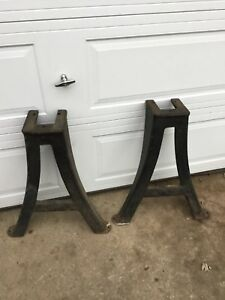 Vintage Set South Bend Cast Iron Lathe Legs Stand Bench Table Industrial Machine