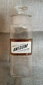 Antique 1889 Apothecary Glass Bottle W Anisum Label Under Glass Pharmacy Jar