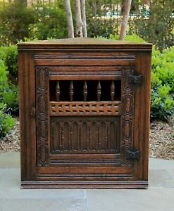 Antique English Oak Corner Cabinet Hanging Medicine Spice Storage Wall Cabinet