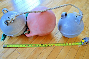 Lot Of 3 Vintage Cast Aluminum Metal Mooring Net Fishing Buoy