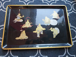Vintage Chinese Black Lacquer Tray With Figures Signed 13 X 19