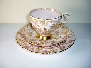 Pink Tuscan Rose Gold 3 Pc Coffee Cup Saucer Dessert Plate Vintage