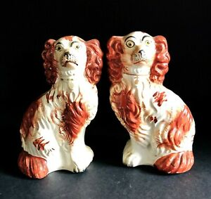Antique 5 5 Pair Of Detailed Red And White Staffordshire Spaniel Dogs C1850s