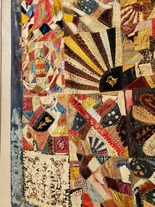 Embroidered Gorgeous Victorian 1880s Crazy Quilt Silks And Velvets Jen