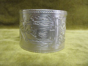 Rare 1900 French Sterling Silver Napkin Ring Well Bucket Art Nouveau