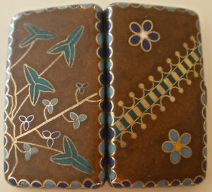 Rare American Aesthetic Movement Enameled Sterling Needle Case By Gorham 1886