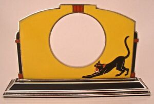Amazing Austrian Art Deco 935 Sterling Enameled Cat Watch Or Clock Holder 1920