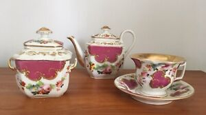 Antique Paris Porcelain 3 Piece Hand Painted Tea Set