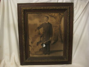 Large Ornate Antique Picture Frame Detailed Wood Wooden Gesso Military Ripped