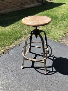 Vintage Industrial Drafting Stool Adjustable Screw Seat