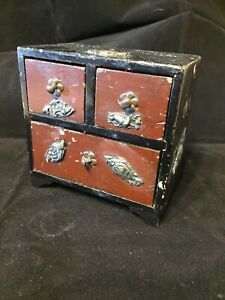 Vintage Antique Wooden Laquer Miniature Chest Of Drawers Silver Decoration
