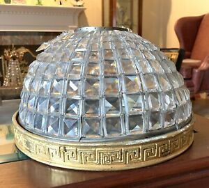 Antique French Crystal Inverted Dome Beaded Shade Basket Chandelier Flush Mount