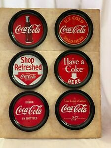 Set of 6 Unused Vintage Metal Coca Cola Coasters Mounted on Cardboard