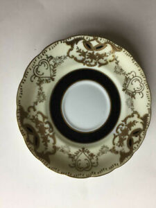 Royal Sealy China Saucer Cobalt Black Ring W Gold Accents 5 1 2 Japan