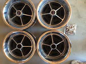 Original 1970 14 Rally 2 1 Piece Wheels With Steel Rim Inserts