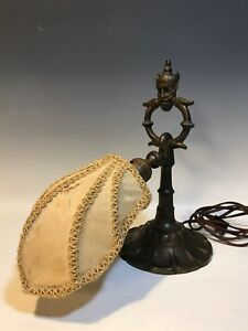 Vintage Rembrandt Devil Genie Piano Desk Lamp Gothic Cast Iron