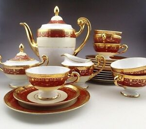 Vintage Bohemia 24 K Gold Hand Decorated Czechoslovakla Coffee Set For Six