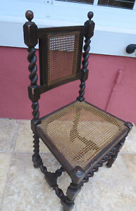 Antique Spanish Colonial Twist Hand Tooled Cane Chair