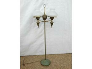 Vintage Student Style Brass Hurricane Shade Floor Lamp