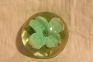 Beautiful Vintage Light Green Lucite Encased Dogwood Flower Paperweight