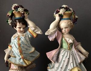 Antique French Limoges Old Haviland Pair Of Bisque Figurines Of Childrens