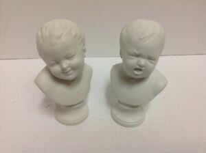 Antique Victorian Style Beautiful Pair Of Parian Bisque Bust Babies
