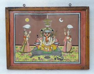 Antique Original Old Rare Indian Miniature Painting Hindu Deity God Ganesh Frame