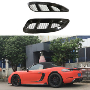 2xcarbon Fiber Side Air Scoop Vents Intake For Porsche 718 Boxster Cayman 16 18