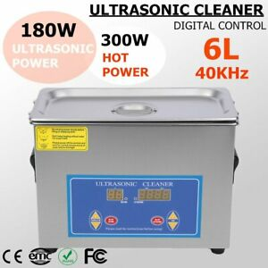 6l Qt 380w Digital Heated Industrial Ultrasonic Parts Cleaner Us Free Ship