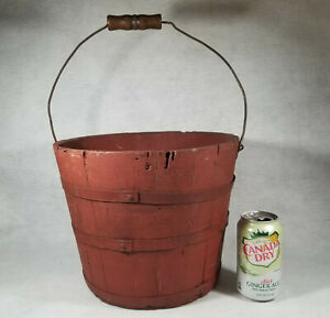 Antique Well Bucket Red Primitive Wood Handle Vintage Large Spectacular Piece