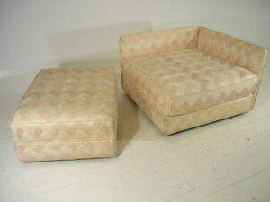 Mid 20th Century Modern Baker Sofa Daybed Chaise W Ottoman Parzinger Era