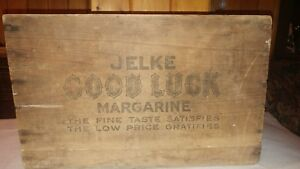 Antique Jelke Good Luck Oleo Margarine Wood Shipping Crate Box Country Store