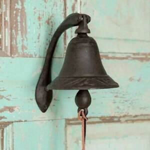 New Primitive Country Farmhouse Cast Iron Logan Dinner Bell With Bracket