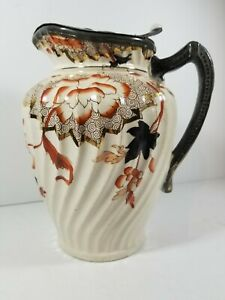 Excellent Ironstone Imari Colors Hinged Pewter Lid Large Water Pitcher A