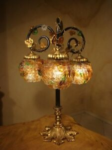 Amazing Old Art Nouveau Brass Glass Lamp 3 Czech Blossoms Shades