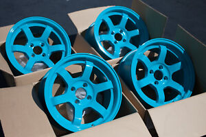 Used Set Rota Grid Concave 15x8 4x100 20mm Teal Blue Wheels Rims Set Of 4