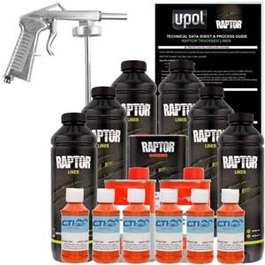 U pol Raptor Orange Crush Urethane Spray on Truck Bed Liner W free Spray Gun 6l